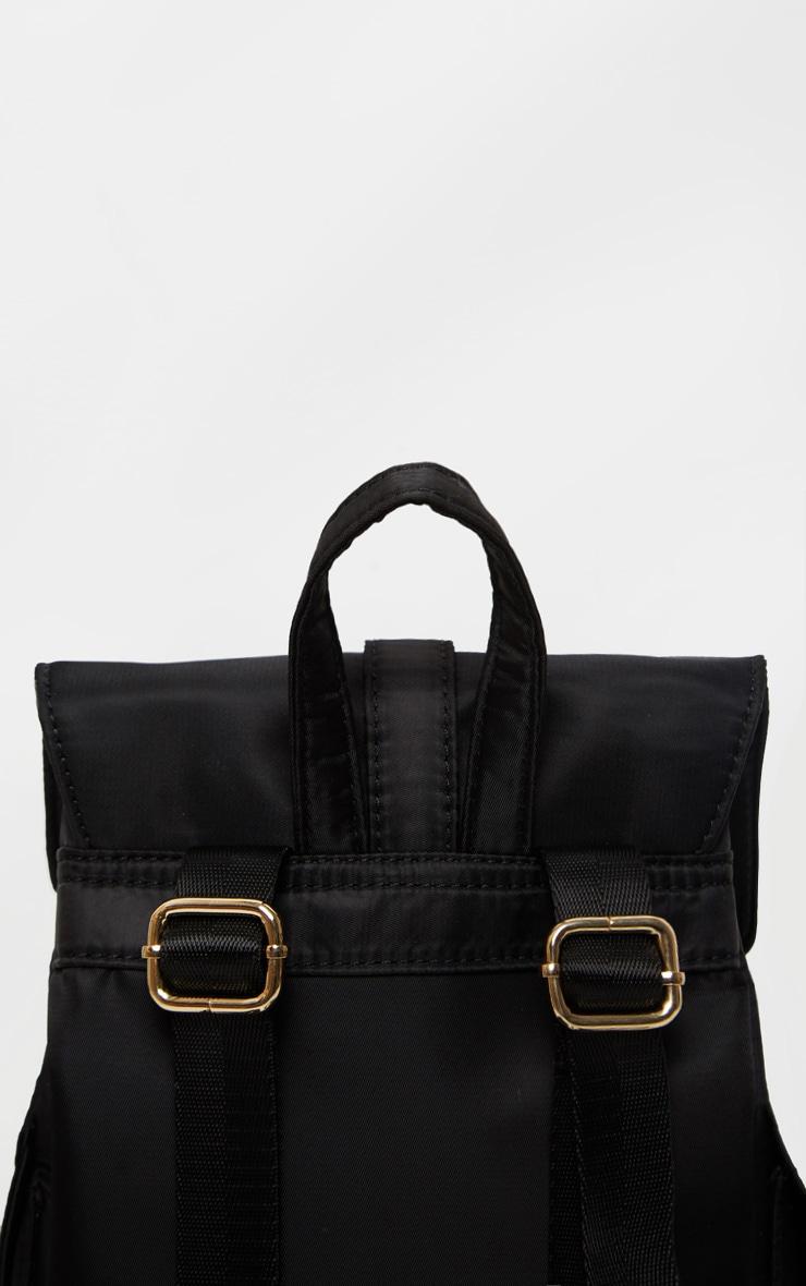 Black Nylon Double Pocket Backpack 4