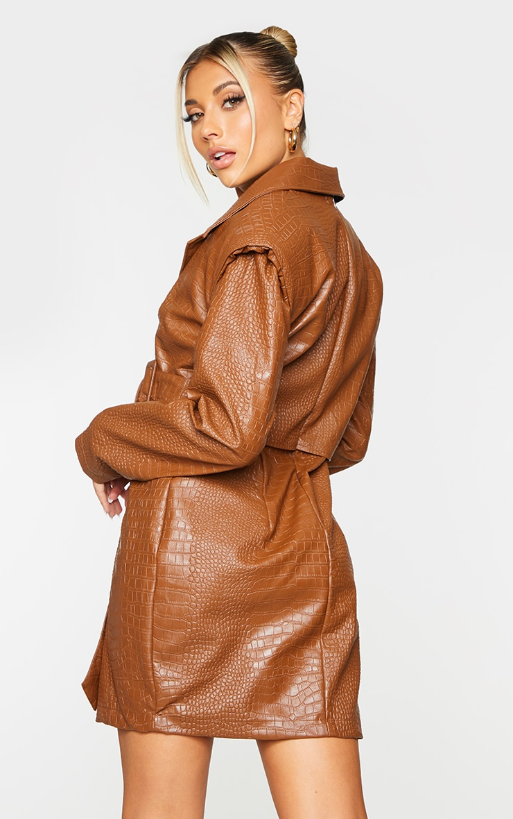 Brown Croc PU Shoulder Pad Buckle Detail Blazer Style Bodycon Dress 2