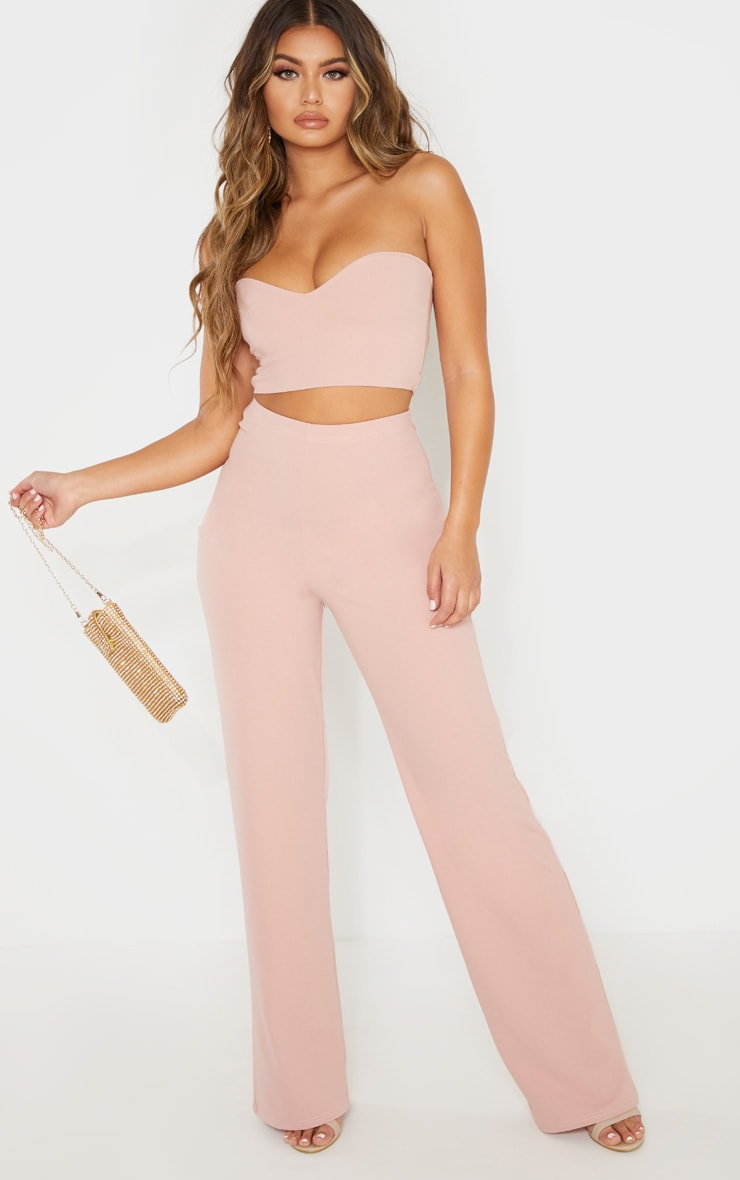 Dusty Pink Crepe High Waisted Wide Leg Pants 1