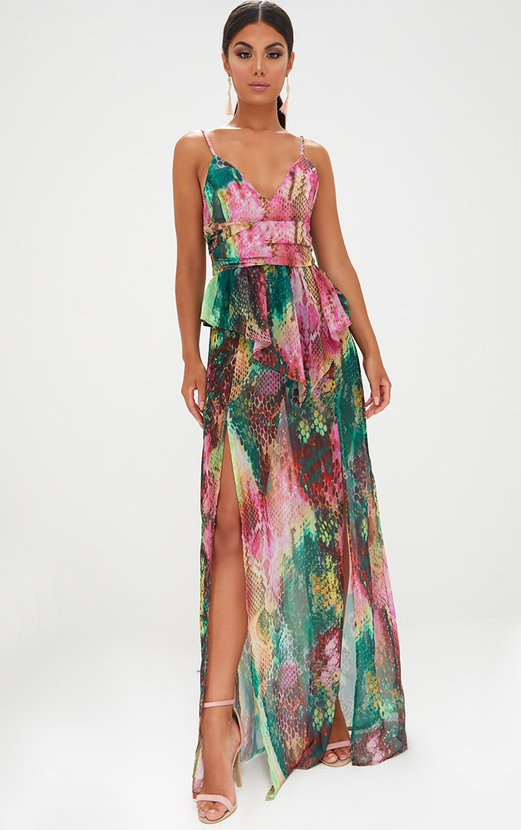 Pink Strappy Frill Detail Snake Print Maxi Dress 1