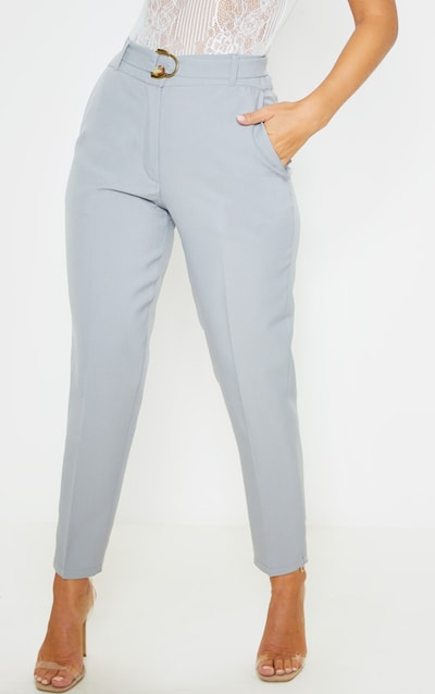 Grey Woven Belted Skinny Trouser