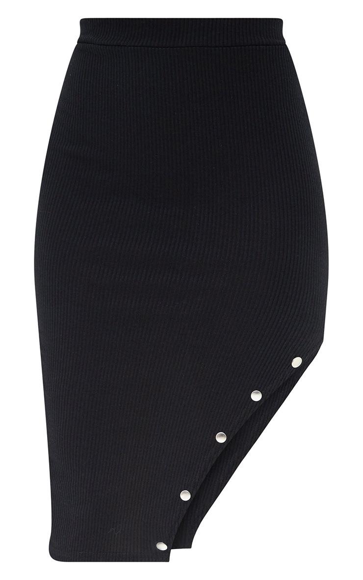 Petite Black Stud Detail Split Midi Skirt 3