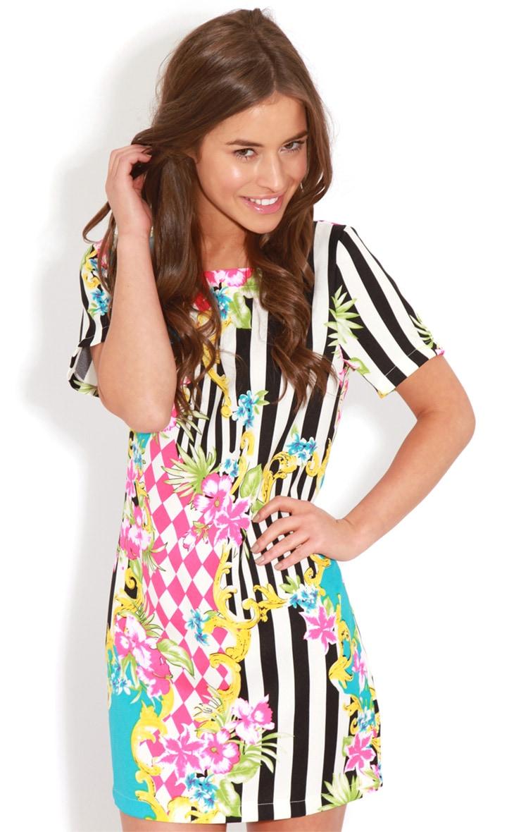 Annabella Floral Stripe Shift Dress 4