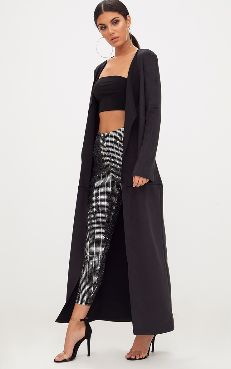 Black Faux Suede Maxi Waterfall Coat 4