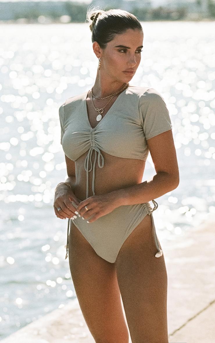 Sand Ruched Side Shell Trim Bikini Bottoms 2