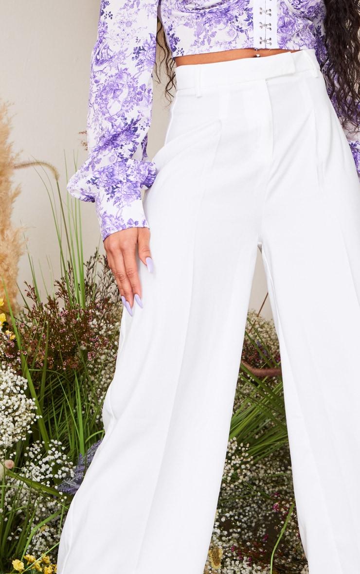 White Wide Leg Woven Pants 4