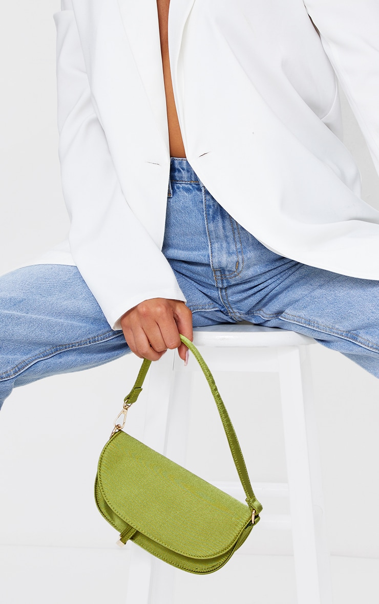 Olive Satin Mini Shoulder Bag 1