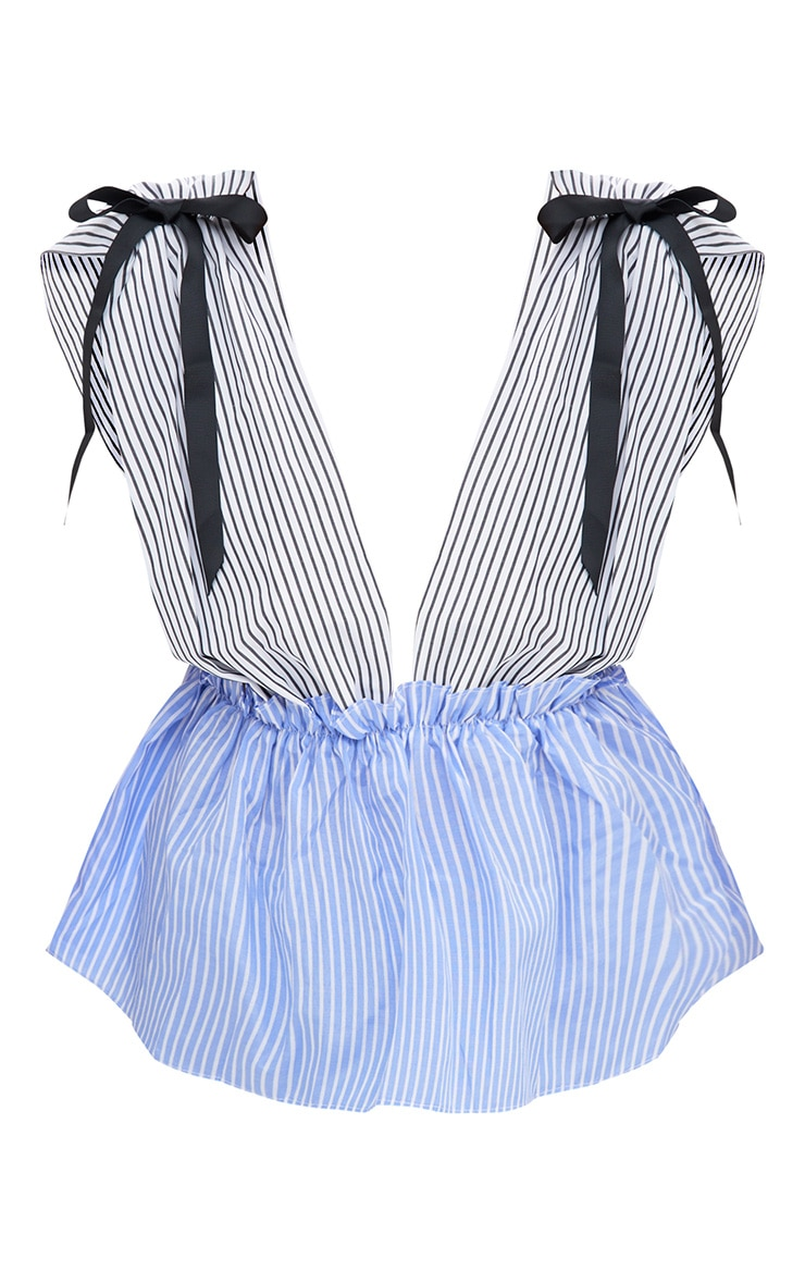 White Contrast Stripe Tie Shoulder Frill Plunge Top 3