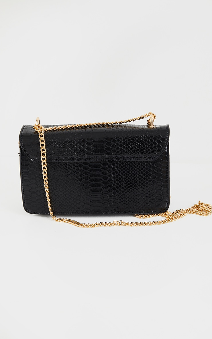 Black Croc Chain Cross Body Bag 4