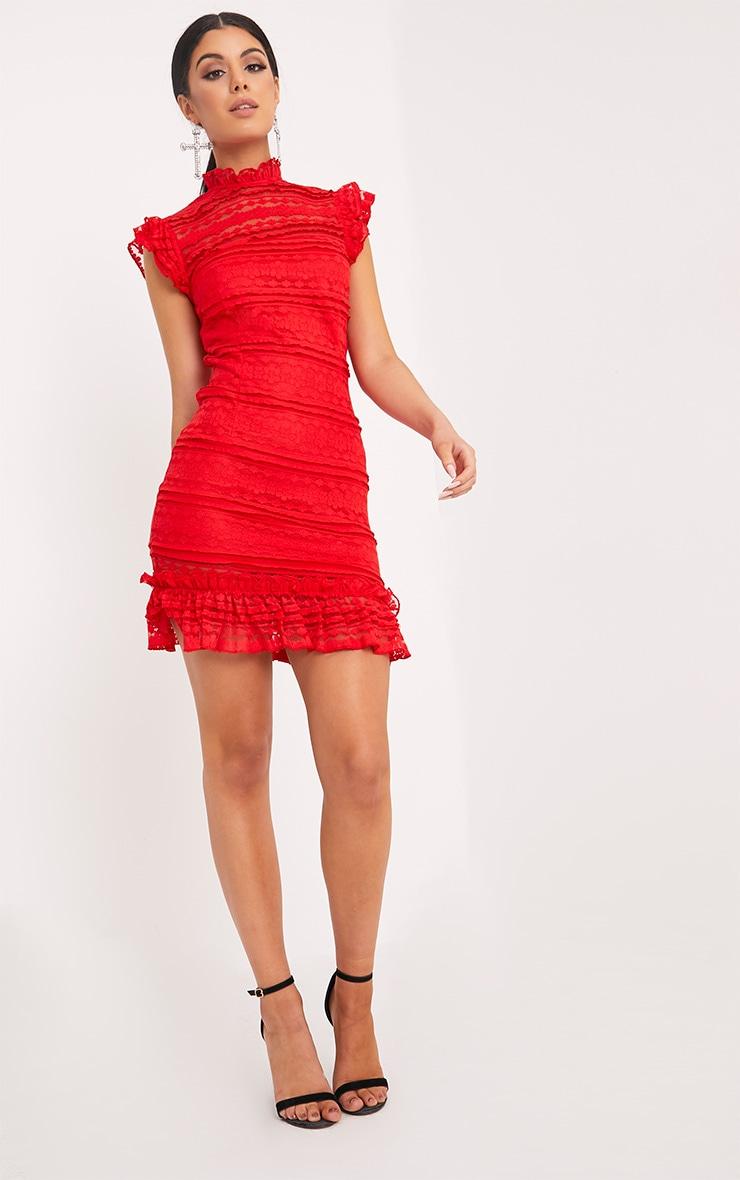 Clariya Red Frill Neck Ruffle Layer Lace Bodycon Dress  1