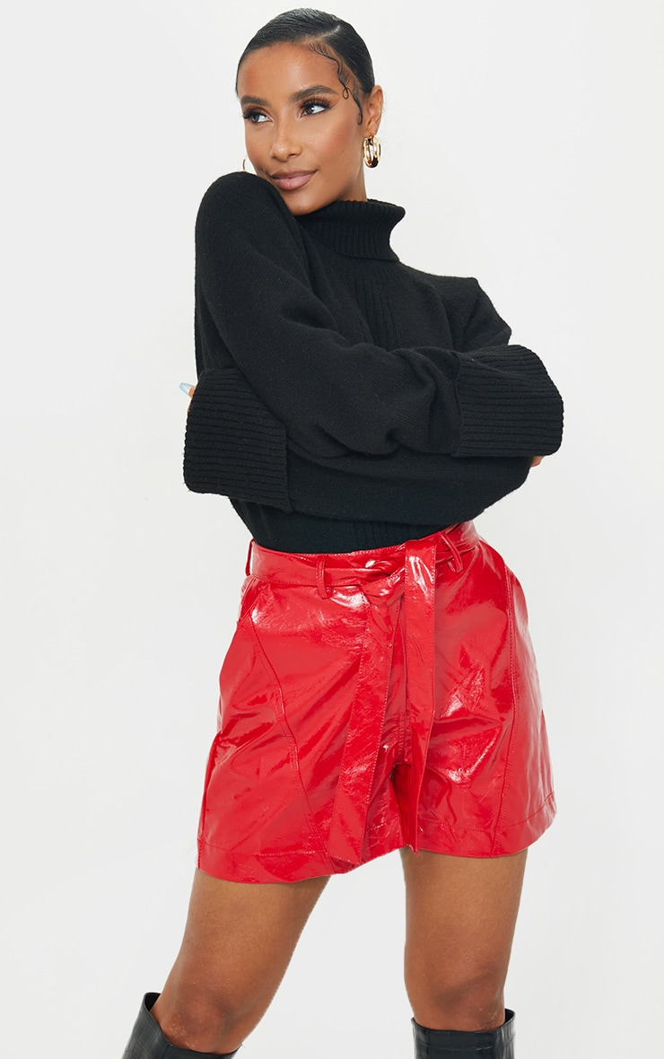 Red Vinyl Belted Shorts 4