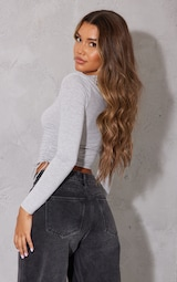 Grey Jersey Ruched Side Long Sleeve Crop Top 2