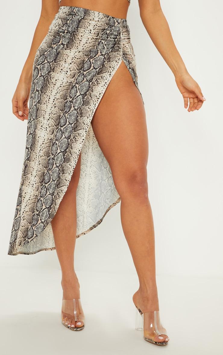 Stone Snake Print Ruched Side Split Maxi Skirt 3