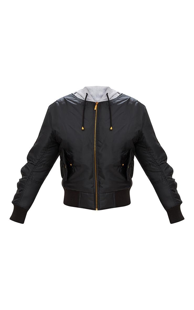 Black Sweatshirt Hooded Bomber Jacket 3