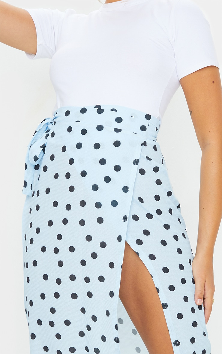 Blue Wrap Around Polka Dot Midi Skirt 4