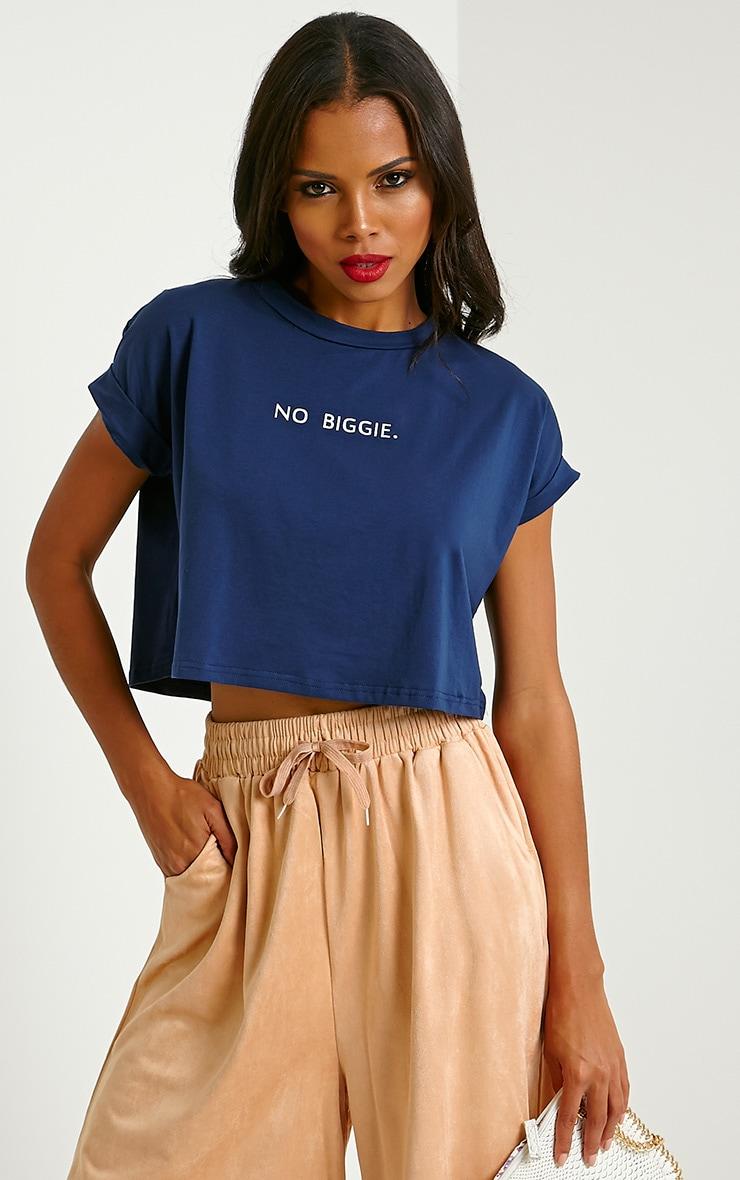 Jace Navy Slogan Crop T-Shirt 1