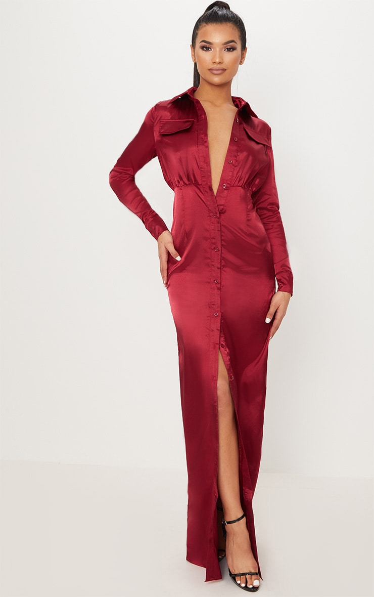 Burgundy Satin Utility Maxi Dress 1