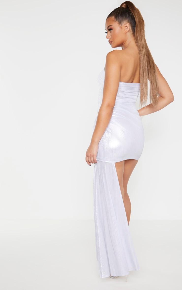Silver Metallic Bandeau Drape Bodycon Dress 2