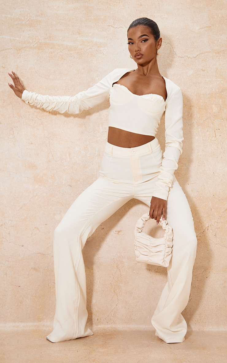 Cream Woven Cup Detail Ruched Sleeve Crop Top 3