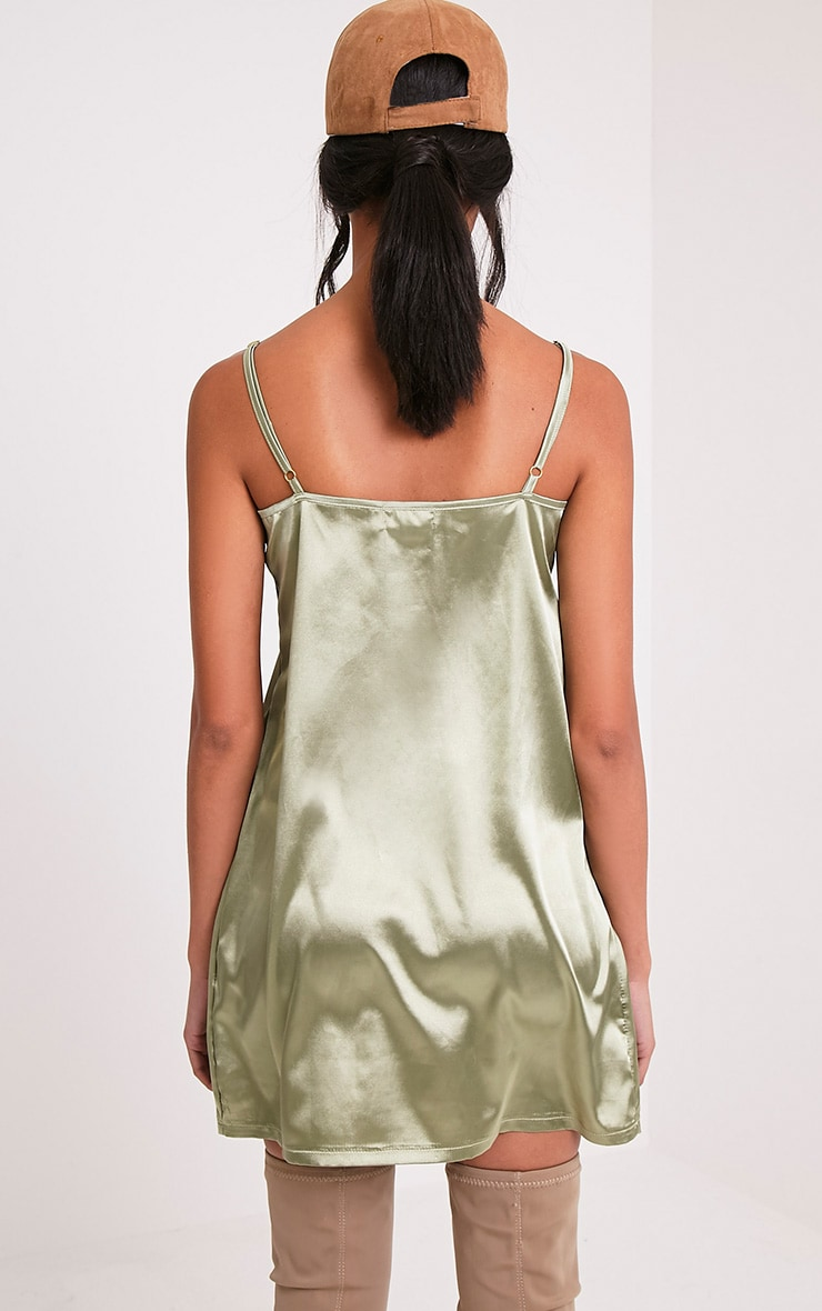 Erin Sage Green Plunge Satin Slip Dress 2