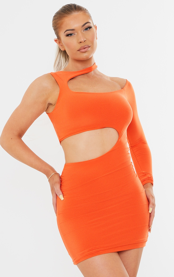 Orange Slinky One Shoulder Bardot Detail Cut Out Waist Bodycon Dress 1