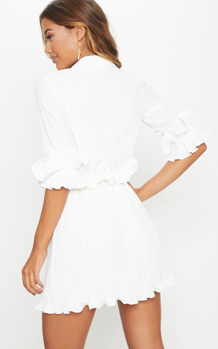 White Frill Detail Pleated Skater Dress 2
