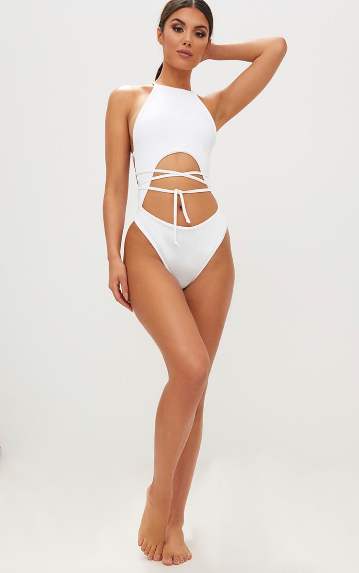 White High Rise Wrap Around Swimsuit 5