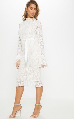 fb13a8157 ... White Lace Button Detail Frill Hem Midi Dress image 4 ...