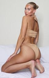 Mocha Cross Over Halterneck Bikini Top 2