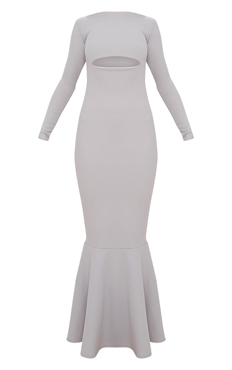 Ice Grey Cut Out Detail Long Sleeve Fishtail Maxi Dress 3