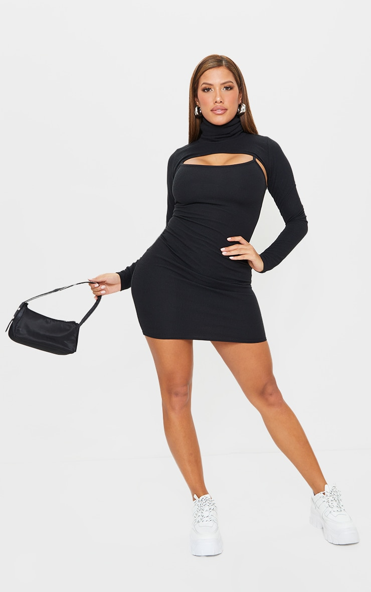 Shape Black Textured Rib Cut Out High Neck Bodycon Dress 3