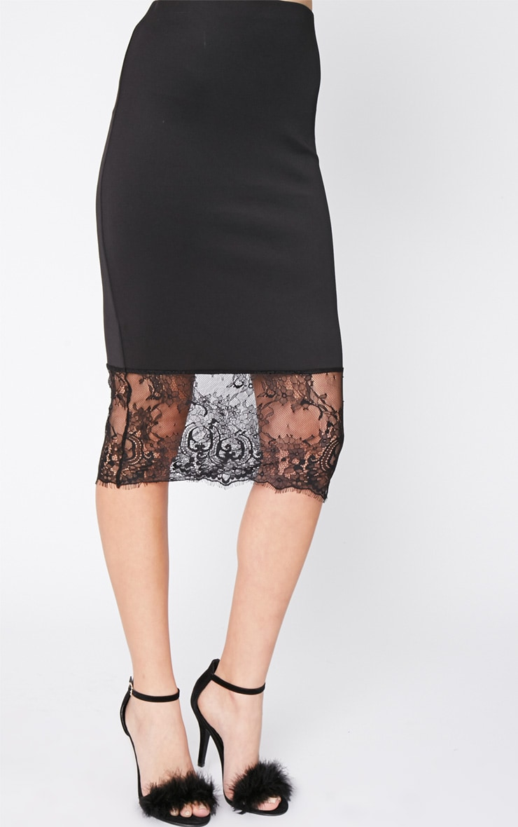 Salina Black Lace Trim Midi Skirt 3