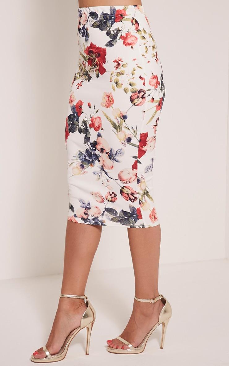 Loran White Floral Print Midi Skirt 4