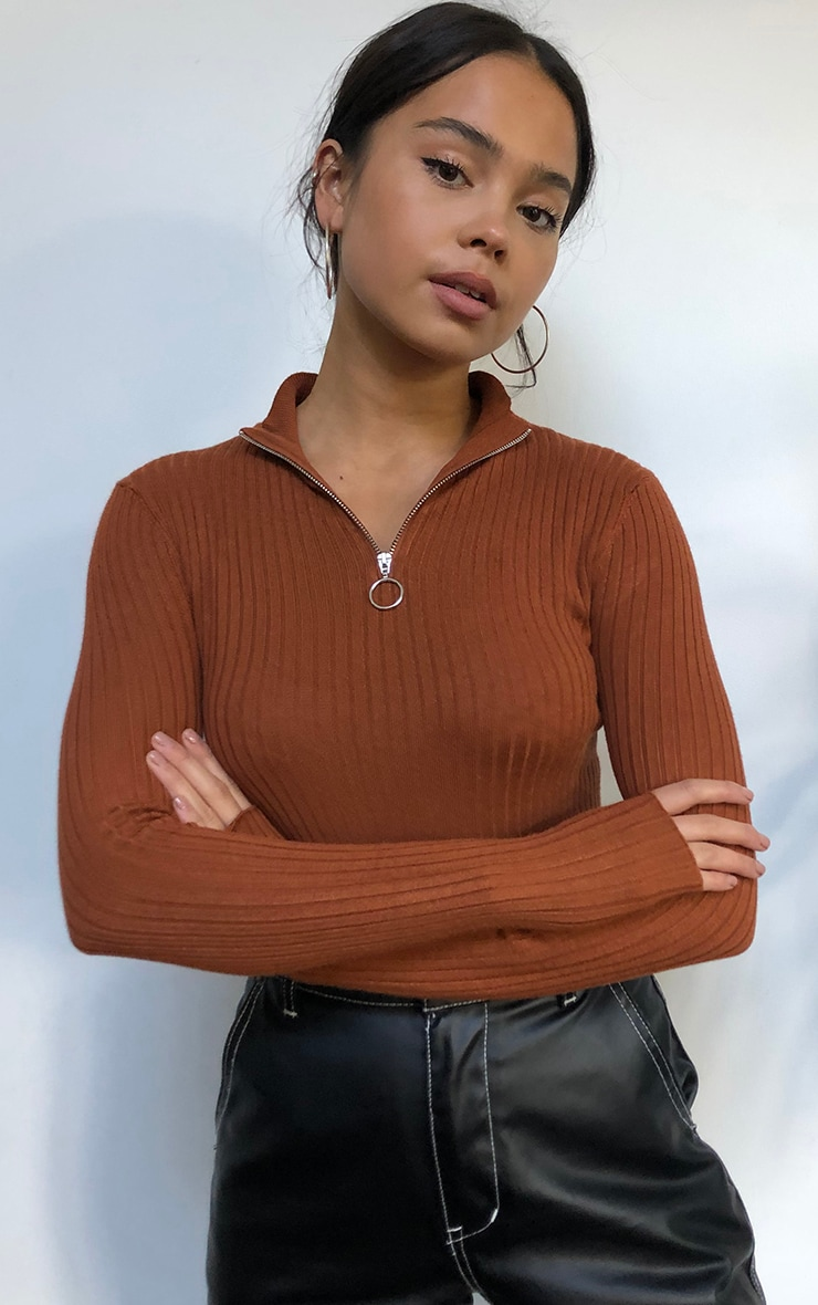 Rust Zip Up Front Knitted Rib Top 1
