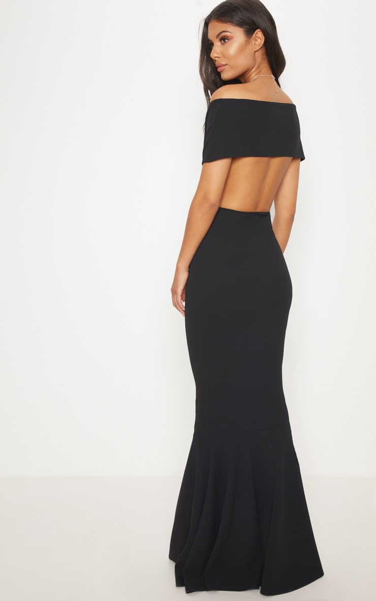 Black Bardot Cut Out Fishtail Maxi Dress 2