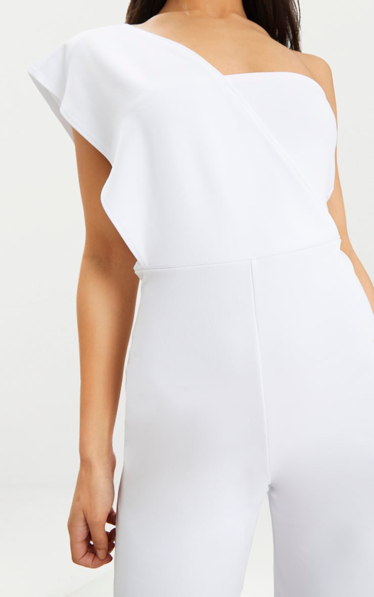 White Drape One Shoulder Jumpsuit 5