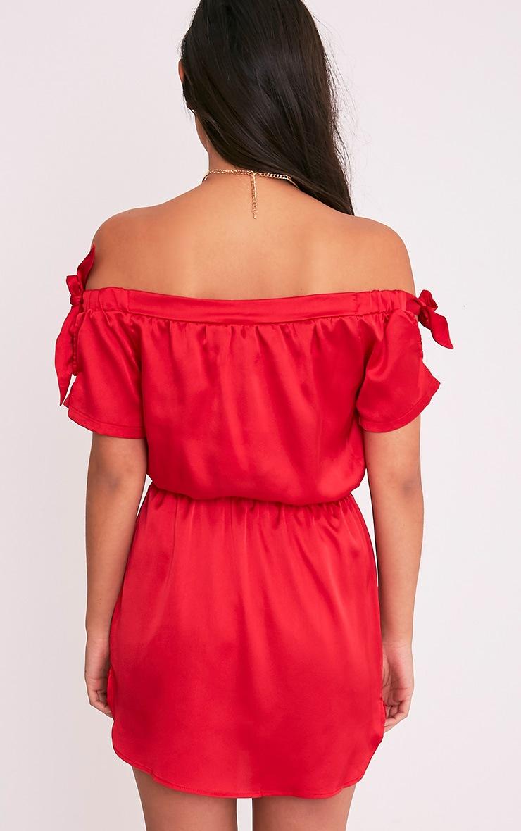 Marshie Red Silky Ruched Waist Bardot Shift Dress 2