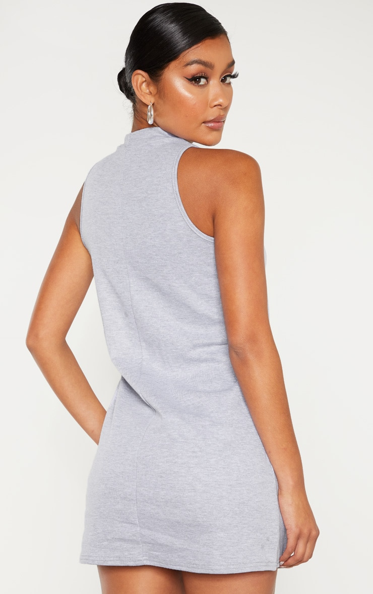 Grey Marl Sleeveless Oversized T Shirt Dress 2