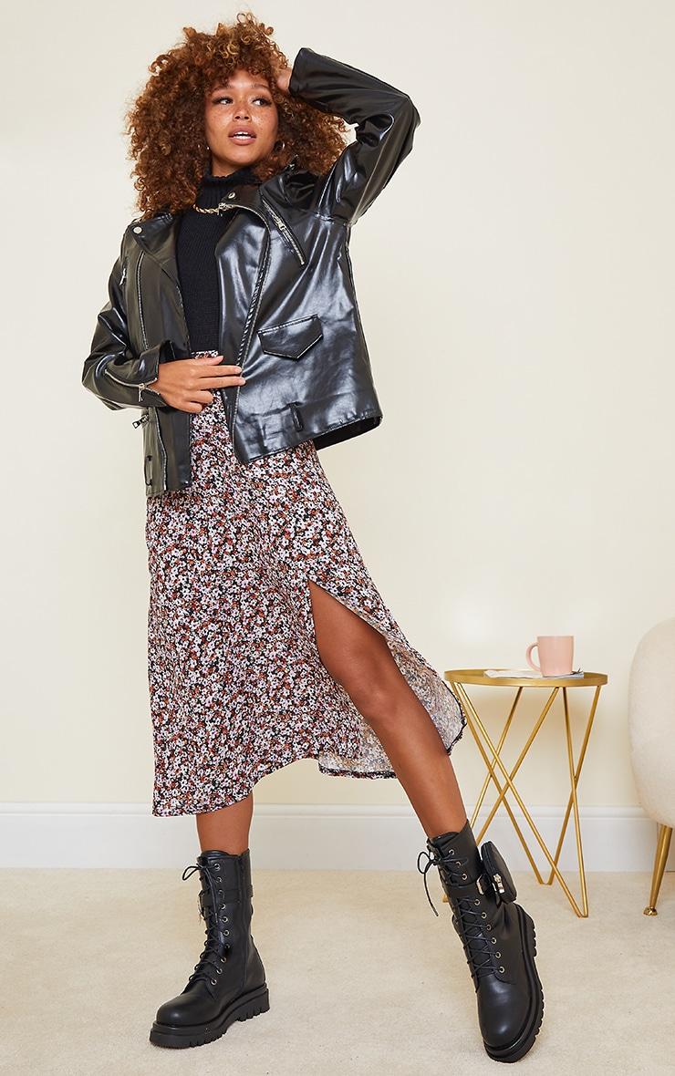 Black Winter Floral Floaty Midi Skirt 1