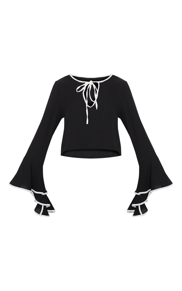 Black Contrast Frill Sleeve Blouse 3