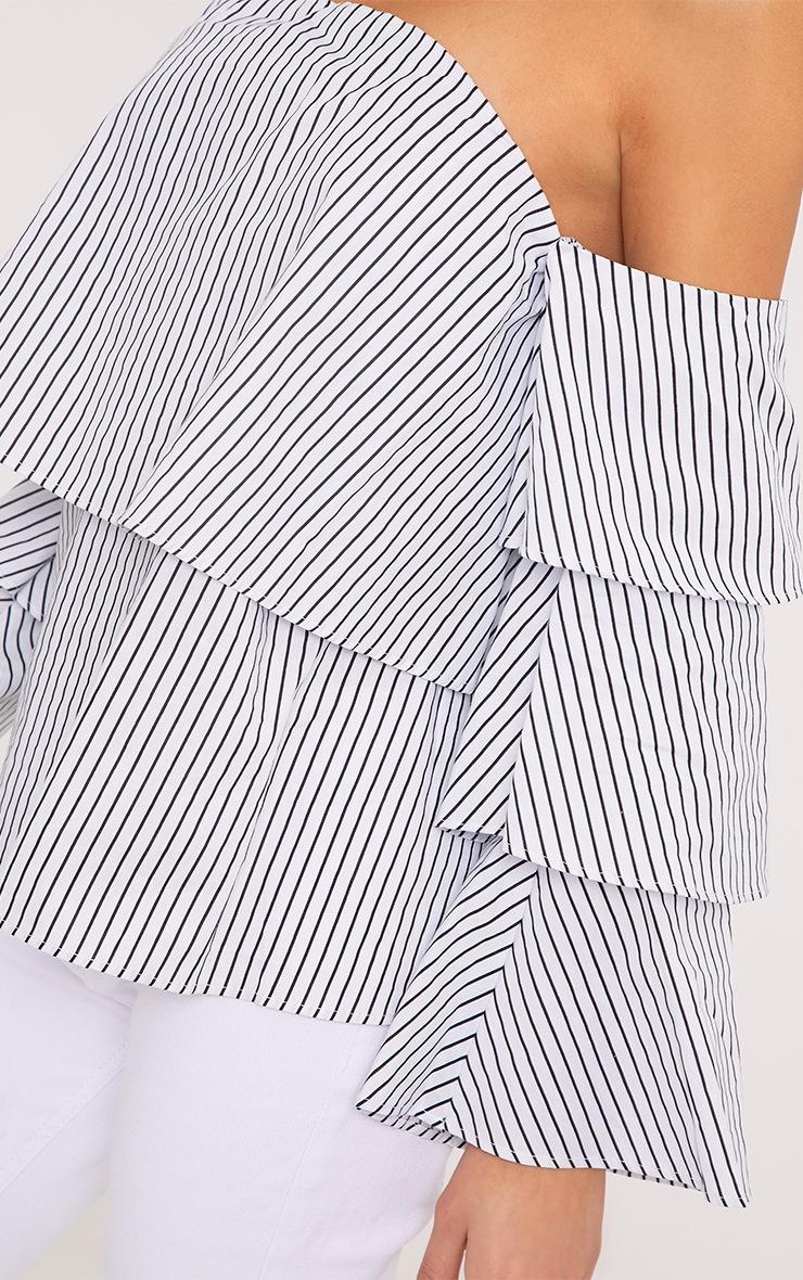 Caitie White Stripe Ruffle Sleeve Bardot Shirt 5