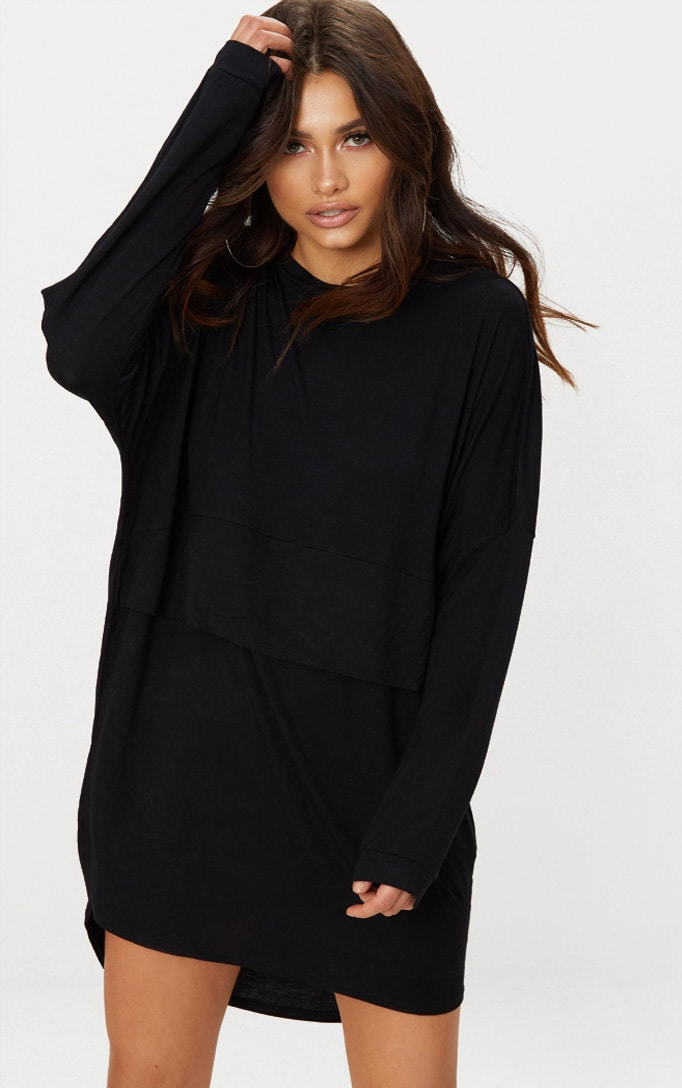 Black Long Sleeve Layer Jersey T Shirt Dress 1