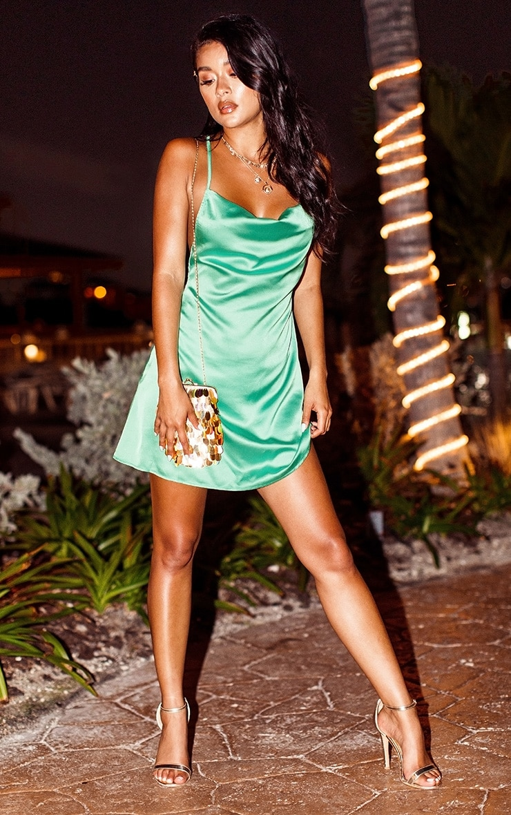 Green Satin Cowl Neck Shift Dress 1