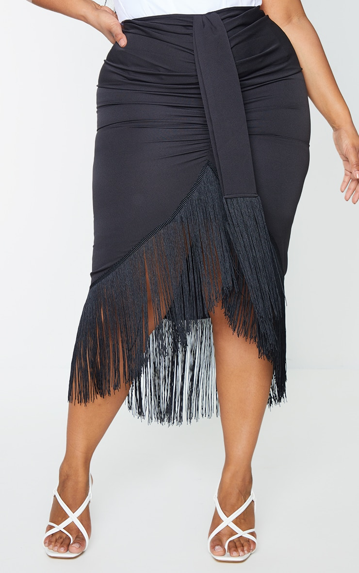 Plus Black Tassel Hem Midi Skirt 2
