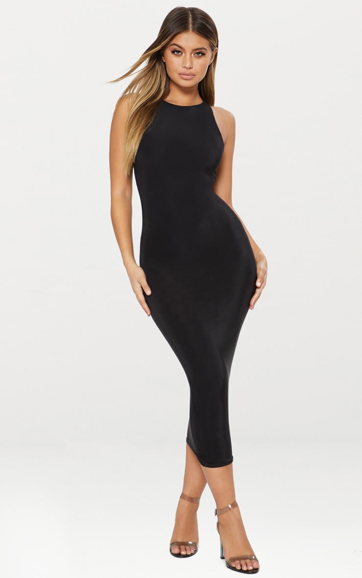 Black Second Skin Double Layered Slinky Racer Neck Midaxi Dress 1