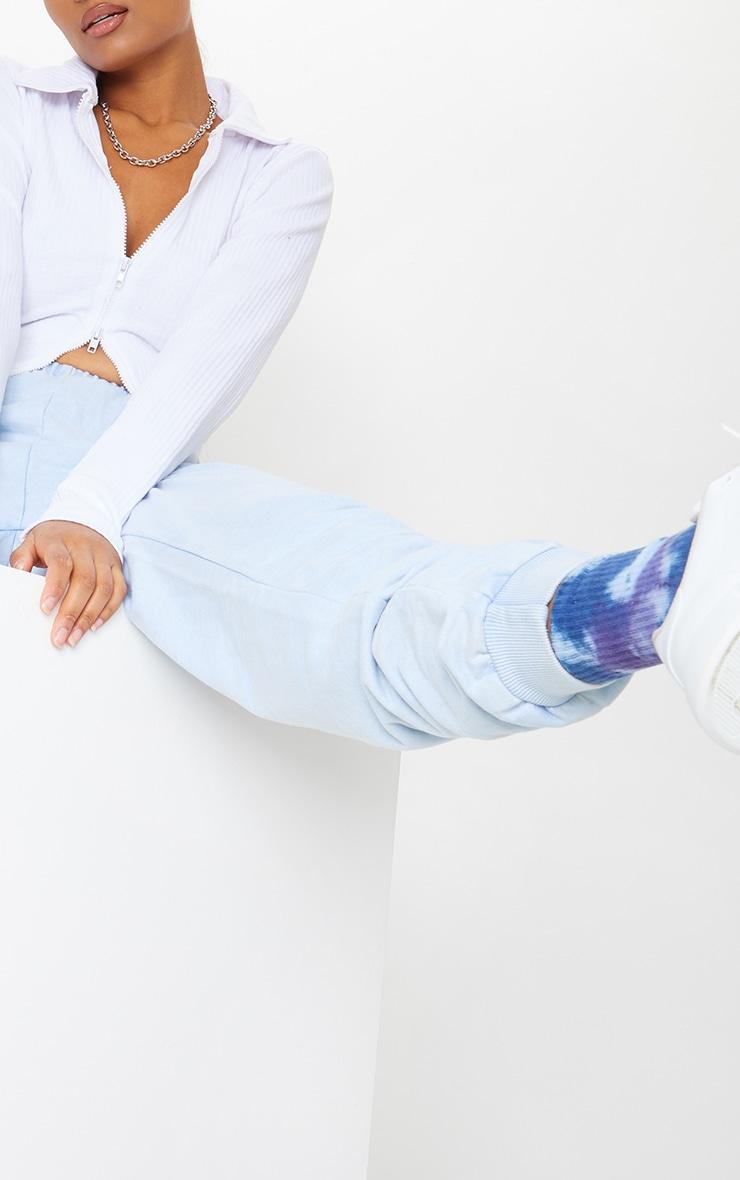 Blue Acid Wash Slim Fit Joggers 4