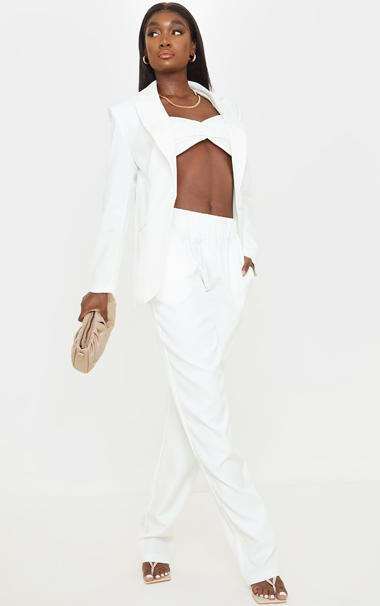 Tall White Oversized Shoulder Pad Suit Blazer 3