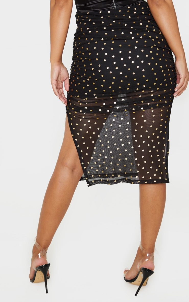 Petite Black Polka Dot Ruched Side Midi Skirt  4