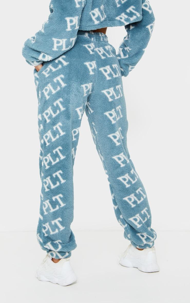 PRETTYLITTLETHING Blue Slogan Printed Borg Joggers 3