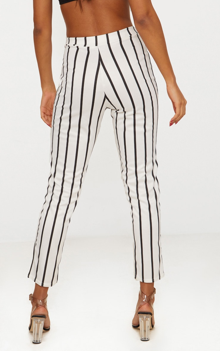 White Monochrome Stripe Belted Cigarette Pants 4